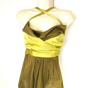 Nicole Miller olive & lemongrass silk halter top.
